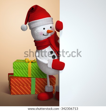 snowman looking out the corner, holding blank banner, 3d illustration, Christmas holiday silver background - stock photo