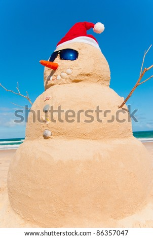 Snowman on holidays. Global Warming Concept Carrot As Nose and Shells for Buttons And Mouth - stock photo