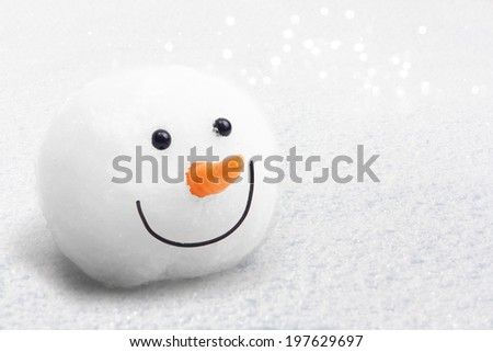 Snowman on snow background. - stock photo