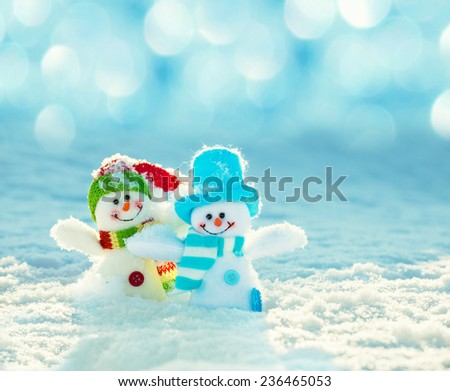 Snowman on snow. Christmas decoration. Winter - stock photo