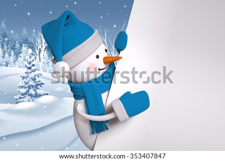 snowman over winter background, holding blank banner, copy space, Christmas Holiday greeting card, 3d illustration - stock photo