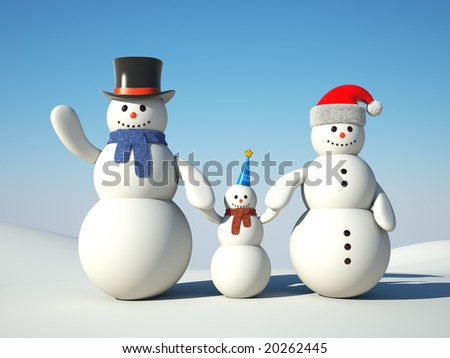 Snowman's happy family. Father, mother and son. - stock photo