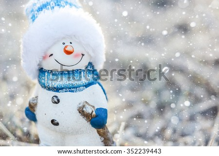Snowman, snow. Winter background, christmas background - stock photo