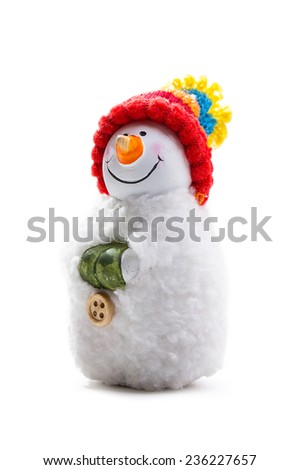 snowman toy isolated on white background - stock photo