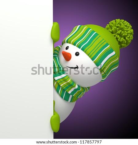 snowman violet banner - stock photo