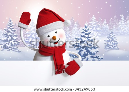 snowman waving hand, looking at camera, holding blank page. Happy New Year greeting card. Winter background illustration - stock photo