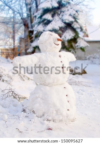 snowman with a carrot nose - stock photo
