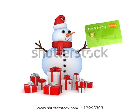 Snowman with credit card and gift boxes.Isolated on white background.3d rendered. - stock photo