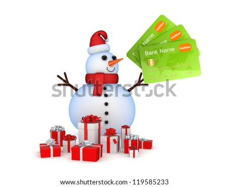 Snowman with credit cards and gift boxes.Isolated on white background.3d rendered. - stock photo