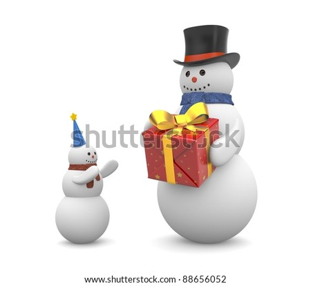 Snowman with gift. Image contain clipping path - stock photo
