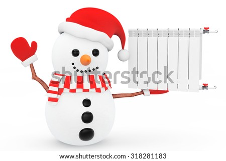 Snowman with Heating Radiator on a white background - stock photo