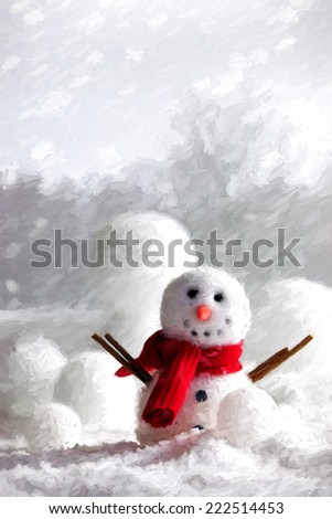 Snowman with winter snow background/ digital painting - stock photo