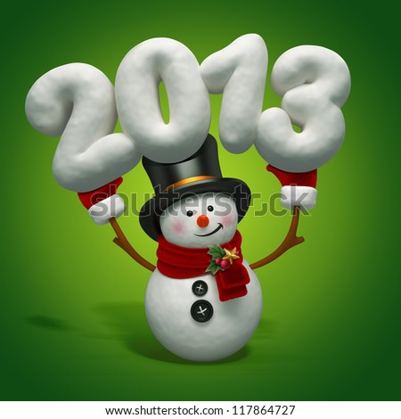 snowman year number - stock photo