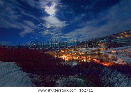 Snowmass Village at night 2 - stock photo