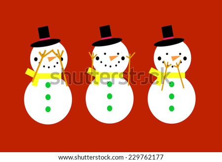 Snowmen on a red background doing see no evil, hear no evil, speak no evil poses - stock photo