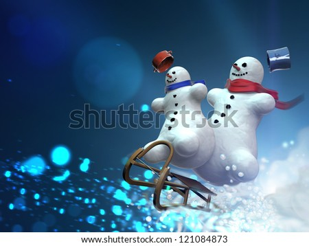 Snowmen on sleds - stock photo