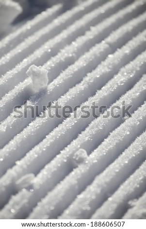 Snowmobile tracks - stock photo
