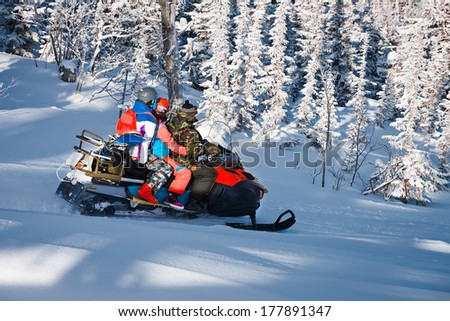 snowmobiling in forest - stock photo