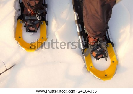 snowshoeing close up - stock photo