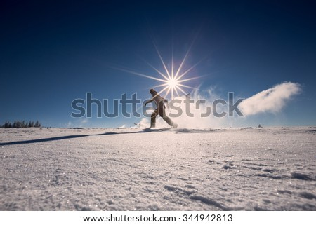 snowshoeing in fresh snow in Black Forest, Germany - stock photo