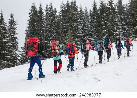 snowshoeing in winter mountains - stock photo