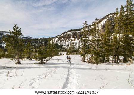 Snowshoers in Tamarack, Mammoth Lakes, CA - stock photo