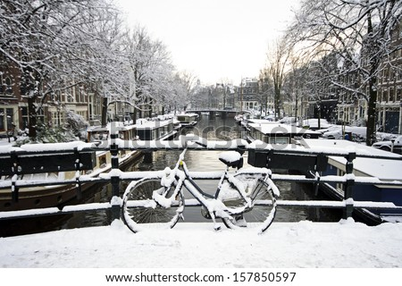 Snowy Amsterdam in the Netherlands in winter - stock photo