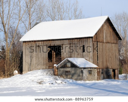 Snowy Barn - stock photo