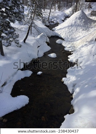 Snowy creek in the mountains  - stock photo