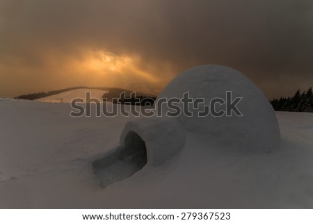 Snowy Ihloo in a colorful evening sunlight. Dramatic wintry scene. Carpathian, Ukraine, Europe. - stock photo