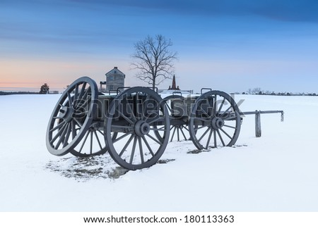 Snowy Landscape Henry Hill at Manassas National Civil War Battlefield Park - stock photo