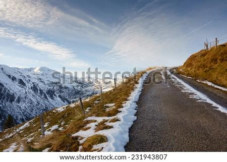 snowy mountain road - stock photo
