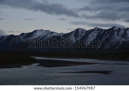 Snowy Mountains at Twilight - stock photo