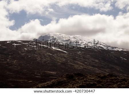 Snowy mountains in Glencoe - stock photo
