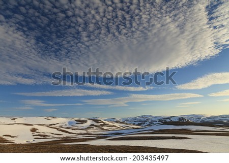 Snowy Mountains of North Cape  - stock photo