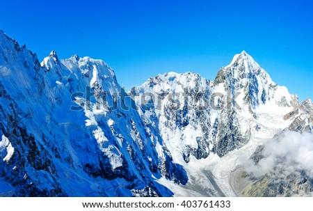 Snowy mountains peaks. Nepal Himalayan - stock photo