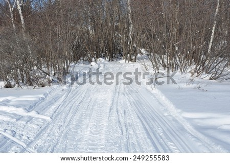 Snowy pathway - stock photo