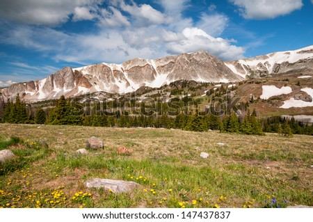 Snowy Range in the Medicine Bow mountains of Wyoming. - stock photo