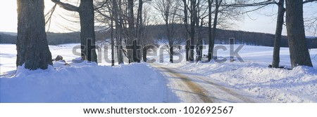 Snowy Road at Sunset, Near Woodstock, Vermont - stock photo