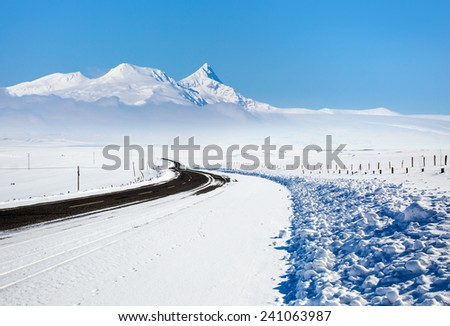 Snowy Roadway  - stock photo