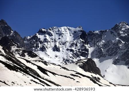 Snowy rocks at nice spring day. Turkey, Kachkar Mountains (highest part of Pontic Mountains). - stock photo
