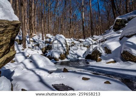 Snowy Stream, Dismal Harmony Reserve, Mendham Township, NJ - stock photo