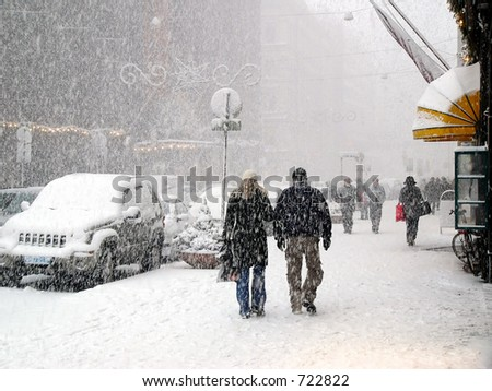Snowy street with Christmas tree in Helsinki, Finland - stock photo