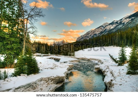 Snowy winter scenery in the Canadian Rocky Mountains - Banff National Park, Alberta Canada - stock photo