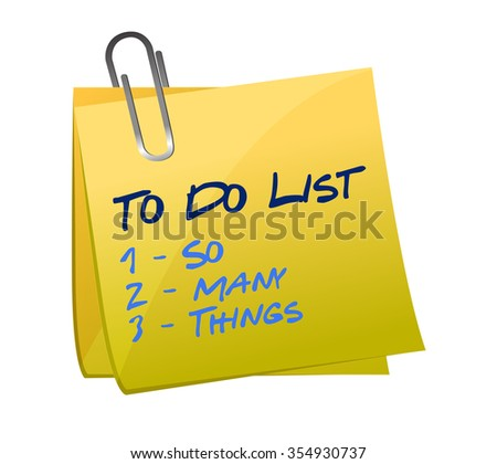 so many thing to do list illustration memo post design - stock photo