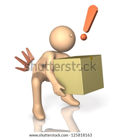 So with a heavy load, he became strained back. - stock photo