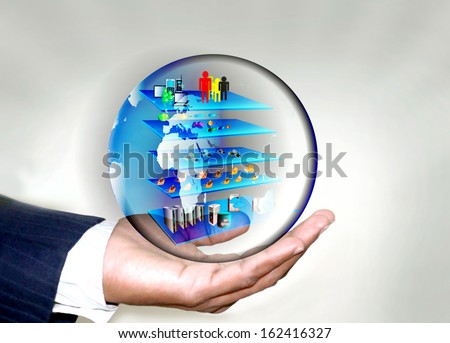 SOA Layered Architecture in Business man hand with in a globe - stock photo