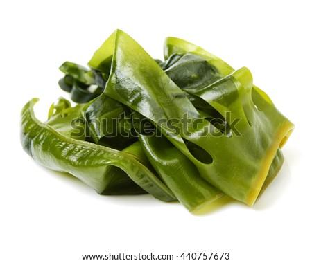 soaked wakame seaweed, japanese food on white background  - stock photo