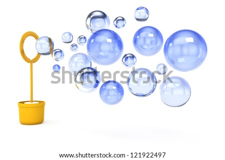soap bubbles isolated on white background. 3d rendered image - stock photo