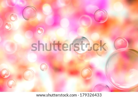 Soap bubbles on a de-focused, pinkish background - stock photo